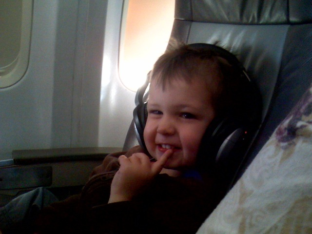 Happy Harper post Disneyland inflight...